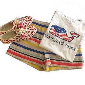 J. Crew Tan Multi Striped Textured Shorts